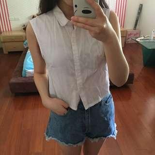 Pazzo 無袖短版 棉麻蝴蝶結襯衫