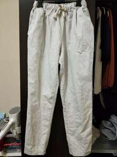 🚚 銀灰色棉麻綁帶寬褲