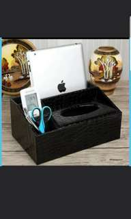 In Stock Desktop Organiser For Remote Control And Tissue Compartment In 2 different designs in Black