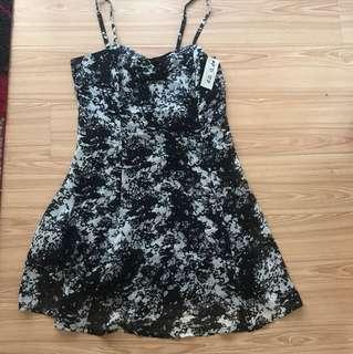 Black and white splatter dress