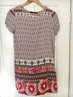 Red printed summer dress