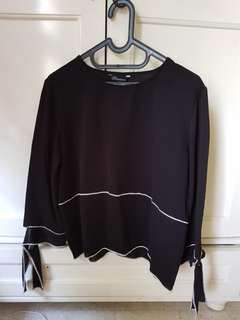 Black Long-Sleeved Top with Ribbons