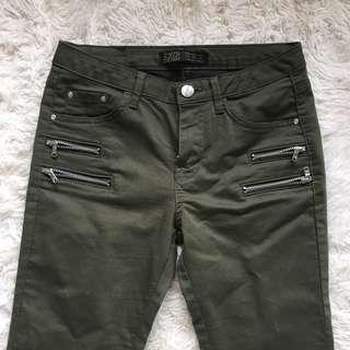 Zara Khaki Zip Jeans Size 34