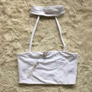 White ASOS Choker Crop Tube Size 4