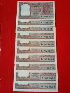 Reserve bank of India 2 rupees ND(1949/1957)  pick27 signed by Rama Rau 10 consecutive runs in Unc rare