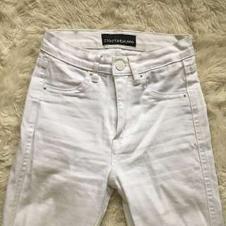 White Ziggy Super Skinny High Rise Jeans Size 24