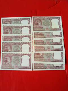 Reserve bank of India 2rupees ND(1957/1962) pick29b,signed by HVR engage,10 pcs