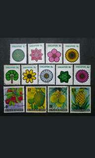 Singapore 1973 4th Definitive Flowers & Fruits Complete Set - 13v MH & Used Stamps