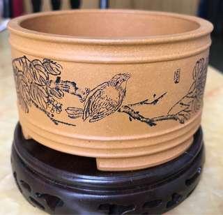 中國名家紫砂盤景盤連座一隻