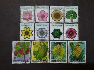 Singapore 1973 4th Definitive Flowers & Fruits Loose Set Short Of 1c - 12v Used Stamps
