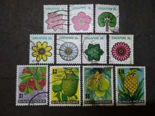 Singapore 1973 4th Definitive Flowers & Fruits Loose Set Short Of 1c & 15c - 11v Used Stamps
