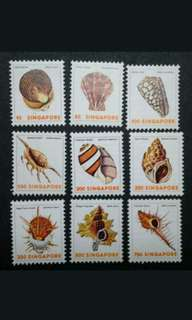 Singapore 1977 3rd Definitive Sea Shells Loose Set 1c To 75c - 9v MNH Stamps #1