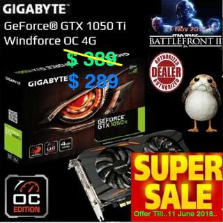 Gigabyte GTX 1050 Ti Windforce OC 4G. ( Special Offer till....11 June... 2018  Ends... , While Stock Last..)
