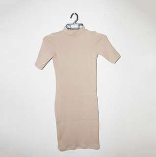 Nude Body Con Ribbed Dress