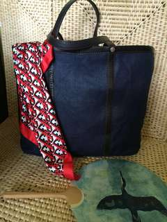 i Blues Big Tote Bag ( made of leather and fabric material)