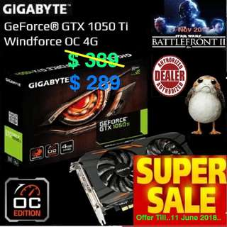 Gigabyte GTX 1050 Ti Windforce OC 4G. ( Special Offer till....11 June... 18  Ends... , Ex-Stock Today)