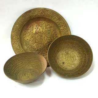 Brass jawi plate and bowls bundle