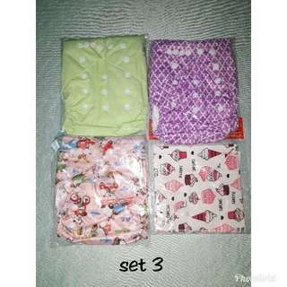 Alva. Clothe diaper with bib/kneepad.3pcs set