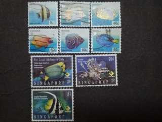 Singapore 1994 8th Definitive Fishes Loose Set Up To $1 - 9v Used Stamps