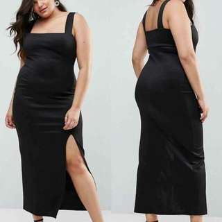 🍃Plus Size Black Formal Long Slit Dress