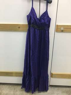 Violet silk dress with embellishments