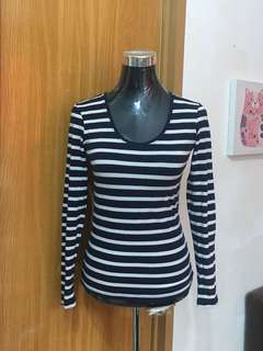 Fitted Long Sleeve U-Neck Top