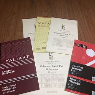 Assorted Accounting Sheets/Notebooks