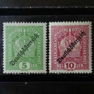 [lapyip1230] 奧匈帝國 1918年 帝國皇冠 共和政體加蓋 新票 Mint