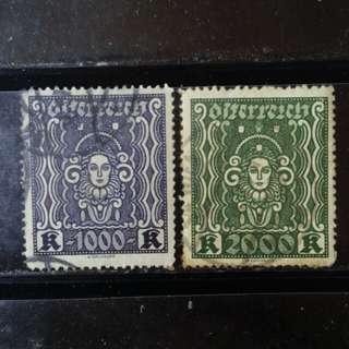 [lapyip1230] 奧地利共和國 1920年 高面額 壹仟, 貳仟克朗 VFU