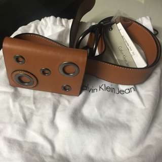 SALE (買3送1) CK Calvin Klein Cow's Leather Belt with Bag 2-way use  兩用 牛皮帶連小包 原裝塵袋送完即止