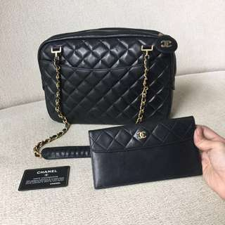 AUTHENTIC CHANEL Lambskin Shoulder Sling Tote Bag + Pouch