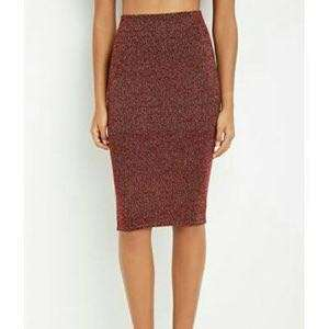 BNWT Forever 21 F21 Red and Gold Metallic Skirt