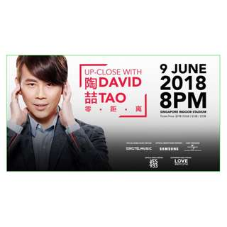 LAST 2 tickets - Up-Close With David Tao 陶喆 - Concert Tickets 9 JUN 8PM Singapore Indoor Stadium (E Ticket)