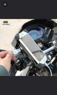 Motorbike phone holder with usb charging cable