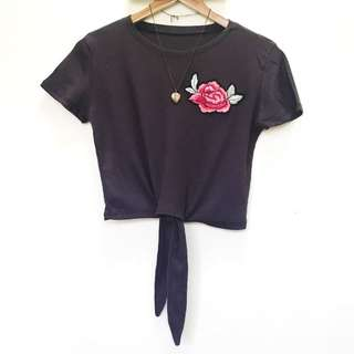 Patched Tie Knot Cropped Top