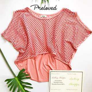 Peach Net Cropped Top / Cover Up