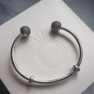 Pandora Open Bangle Sz17 White Stones