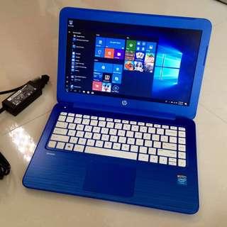 "98% New Blue Lightweight slim HP Stream 13.3"" Windows10 N3050 2G ram 32G SSD HDMI 6-10 hour battery with charger要中文版可預先通知轉回中文版才交收"