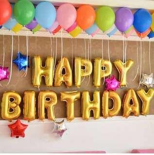 Aluminum Foil Happy Birthday Set ballons