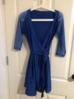Kblu Blue beach outerwear with sheer Japanese sleeves