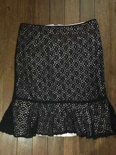 Marks & Spencer Black Lace Midi Skirt Size XL