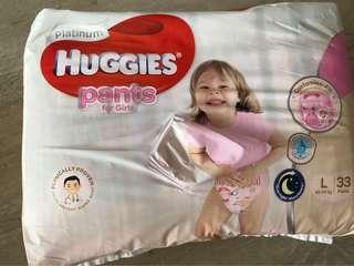 Huggies Platinum Diaper Pants for Girls (L size)