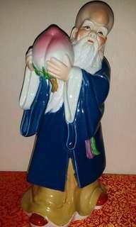 景德镇老雕塑 美一 寿星公献桃