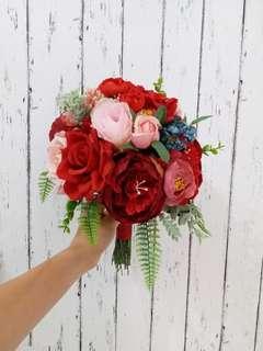 結婚花球 紅色花球 絲花花球