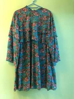 Monki high neck ruffle dress