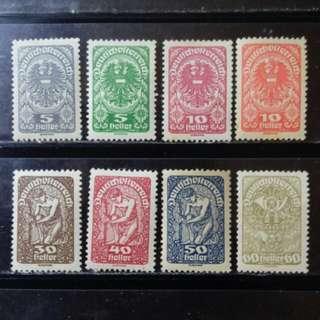 [lapyip1230] 奧地利共和國 1921年 原膠新票全份 MNH