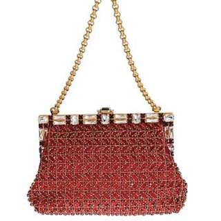 DOLCE & GABBANA RED VANDA CRYSTAL SEQUINED GOLD CHAIN BAG