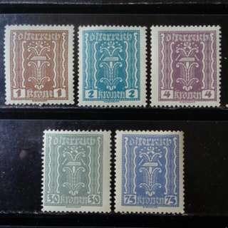 [lapyip1230] 奧地利共和國 1922年 大票幅 原膠新票無背貼 MNH