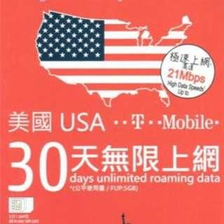 美國30天上綱咭 USA data sim card