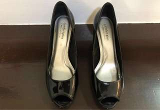 Payless Comfort Plus Black Peep Toe Wedges Size 7